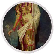 Saint Margaret Slaying The Dragon Round Beach Towel by Antoine Auguste Ernest Herbert