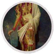 Saint Margaret Slaying The Dragon Round Beach Towel by Antoine Auguste Ernest Herbert