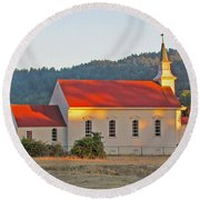 St. Mary's Church At Sunset Round Beach Towel