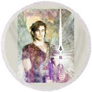 Round Beach Towel featuring the painting Saint  Michael 9 by Suzanne Silvir