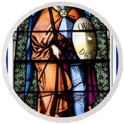 Saint Michael The Archangel Stained Glass Window Round Beach Towel
