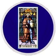 Round Beach Towel featuring the photograph Saint Michael The Archangel Stained Glass Window by Rose Santuci-Sofranko