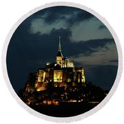Round Beach Towel featuring the photograph Saint Michel Mount After The Sunset, France by Yoel Koskas