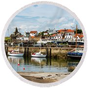 Saint Monans Harbour Round Beach Towel by MaryJane Armstrong