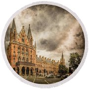 Round Beach Towel featuring the photograph London, England - Saint Pancras Station by Mark Forte