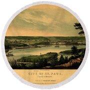 Saint Paul Minnesota 1853 Round Beach Towel