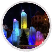 Saint Paul Winter Carnival Ice Palace 2018 Lighting Up The Town Round Beach Towel