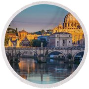 Saint Peters Basilica Round Beach Towel