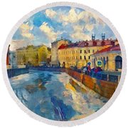 Saint Petersburg Winter Scape Round Beach Towel