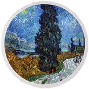 Saint-remy Road With Cypress And Star Round Beach Towel