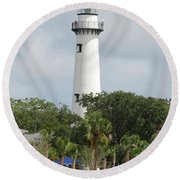 Saint Simons Island Light Round Beach Towel