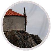 Saint Vincent Chapel  Round Beach Towel
