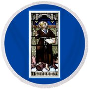Round Beach Towel featuring the photograph Saint William Of Aquitaine Stained Glass Window by Rose Santuci-Sofranko