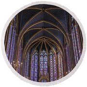Sainte Chapelle Stained Glass Paris Round Beach Towel