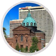 Saints Peter And Paul And Sheraton Hotel In Philadelphia  Round Beach Towel
