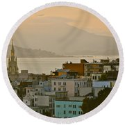 Saints Peter And Paul Spires Round Beach Towel by Eric Tressler