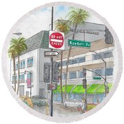 Saks Fth Avenue In Wilshire Bvd., Beverly Hills, California Round Beach Towel