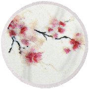 Sakura Branch Round Beach Towel