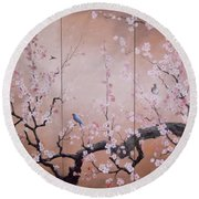 Sakura - Cherry Trees In Bloom Round Beach Towel