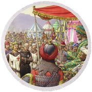 Saladin Orders The Execution Of Knights Templars And Hospitallers  Round Beach Towel by Pat Nicolle