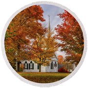 Round Beach Towel featuring the photograph Salem Church In Autumn by Jeff Folger