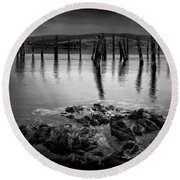 Salen Pier, Isle Of Mull Round Beach Towel