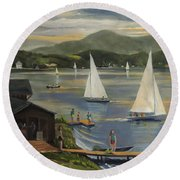 Sailing At Lake Morey Vermont Round Beach Towel