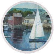 Saling In Rockport Ma Round Beach Towel