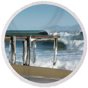 Round Beach Towel featuring the photograph Salisbury Winter Storm by Betty Denise