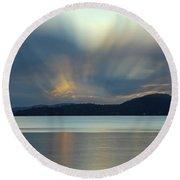 Salish Sea Sunrise - 365-350 Round Beach Towel by Inge Riis McDonald