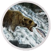 Salmon Fishing Round Beach Towel