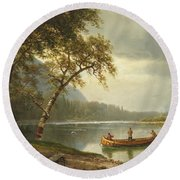 Salmon Fishing On The Caspapediac River Round Beach Towel by Albert Bierstadt