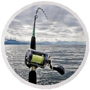 Salmon Fishing Rod Round Beach Towel by Darcy Michaelchuk