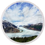 Salmon Glacier Round Beach Towel by Heidi Brand