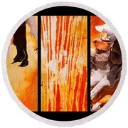 Salmon Gum Tree Triptych Round Beach Towel