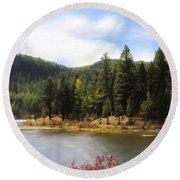 Salmon Lake Montana Round Beach Towel