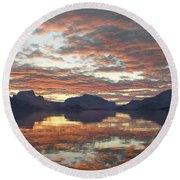 Round Beach Towel featuring the digital art Salmon Lake Sunset by Mark Greenberg