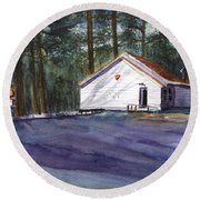 Round Beach Towel featuring the painting Salmon River Grange by Chriss Pagani