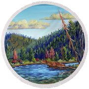 Salmon River - Stanley Round Beach Towel