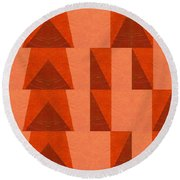 Salmon With Red And Brown Round Beach Towel by Michelle Calkins