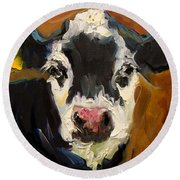 Salt And Pepper Cow Round Beach Towel