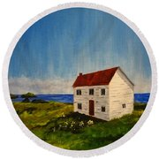 Saltbox House Round Beach Towel