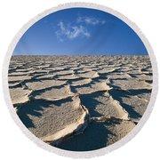 Salt Flats Death Valley National Park Round Beach Towel