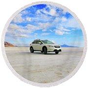 Salt Flats Subaru Round Beach Towel