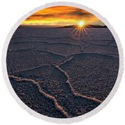 Salt Flats Sunset Round Beach Towel