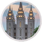 Salt Lake City Temple Morning Round Beach Towel by Dustin  LeFevre