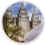 Salt Lake Lds Temple And Tabernacle - Utah Round Beach Towel by Gary Whitton