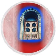 Salt Lake Temple Doors 1 Round Beach Towel by Richard W Linford
