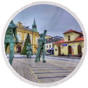Round Beach Towel featuring the photograph Salt Miners Of Wieliczka, Poland by Juli Scalzi