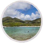 Round Beach Towel featuring the photograph Salt Pond Bay Panoramic by Adam Romanowicz